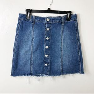 Mossimo Button Front Jean Distressed Hem Skirt 10